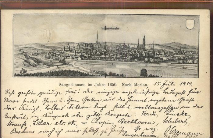 Sangerhausen Suedharz im Jahre 1650 nach Merian Kat. Sangerhausen