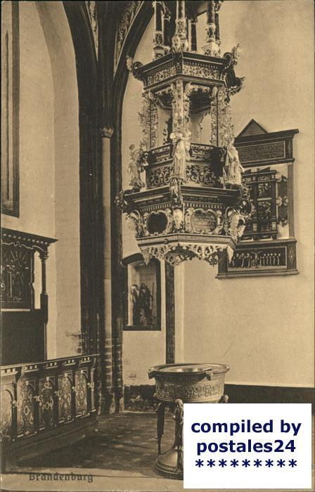Brandenburg Havel Inneres der St.Gotthardtkirche (Taufbecken) Kat. Brandenburg