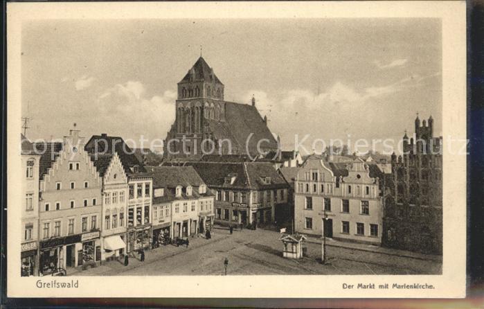 Greifswald Mecklenburg Vorpommern Markt mit Marienkirche Kat. Greifswald