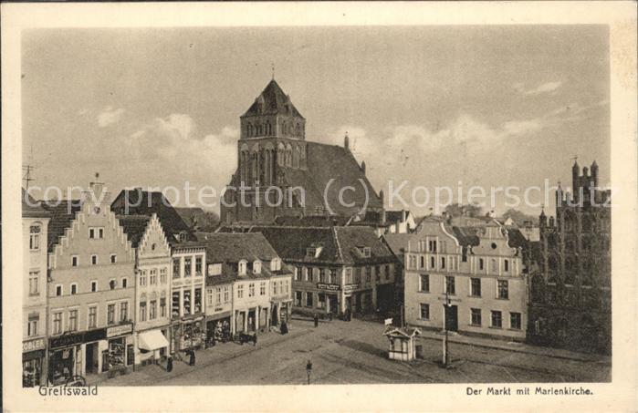 Greifswald Mecklenburg Vorpommern Markt u.Marienkirche Kat. Greifswald