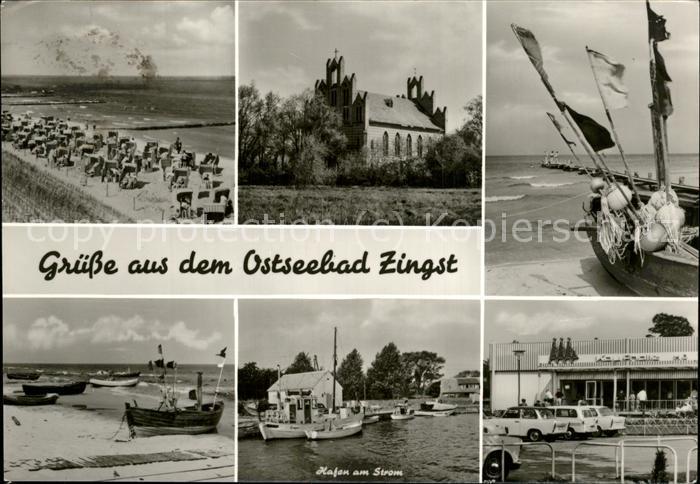 Zingst Ostseebad Hafen Autos Boote Kirche Strand / Zingst Darss /Nordvorpommern LKR