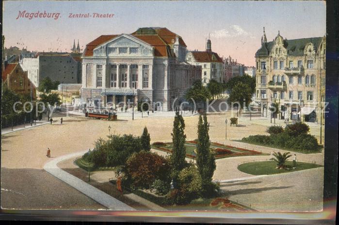 Magdeburg Zentral Theater Strassenbahn Kat. Magdeburg