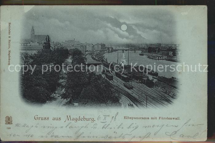 Magdeburg Elbepanorama Fuerstenwall Eisenbahn Kat. Magdeburg