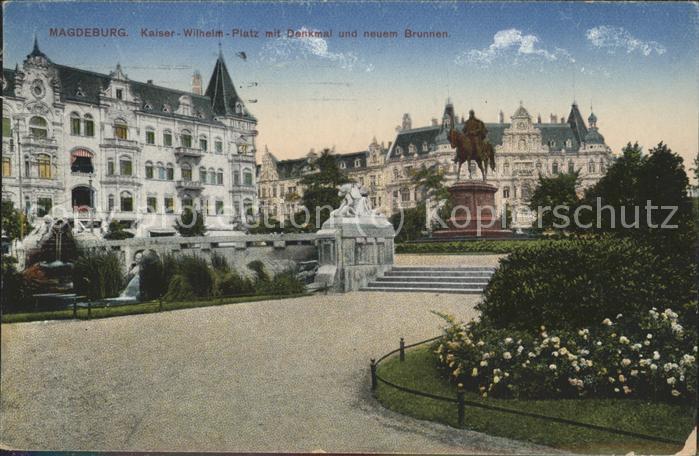 Magdeburg Kaiser Wilhelm Platz Denkmal Brunnen Kat. Magdeburg