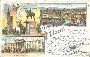 Elberfeld Wuppertal Weyerbusch Turm Kaiser Wilhelm Denkmal Bahnhof Dueppersberg Ansicht vom Kiesberg / Wuppertal /Wuppertal Stadtkreis