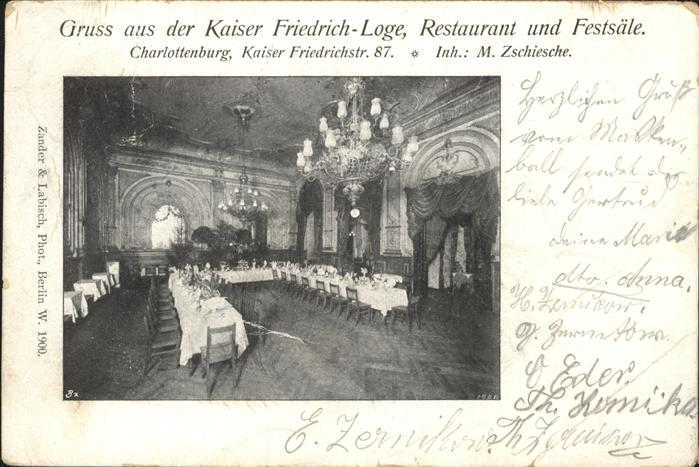 Charlottenburg Kaiser Friedrich Loge Restaurant Festsaal / Berlin /Berlin Stadtkreis