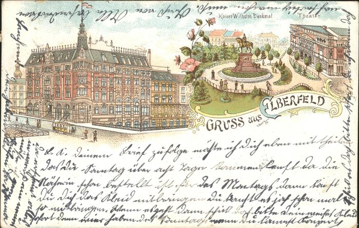 Lithographie elberfeld krieger denkmal stadt theater for Hotel wuppertal elberfeld