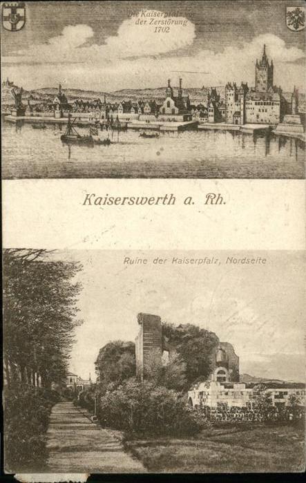 Kaiserswerth Kaiserpfalz vor der Zerstoerung 1702 Ruine Wappen Kat. Duesseldorf