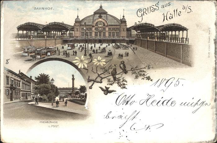 Halle Saale Bahnhof Promenade Post Saeule Kat. Halle