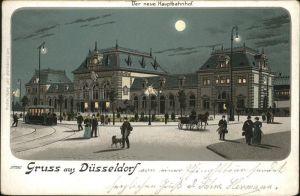 Duesseldorf Bahnhof Pferdedroschke Strassenbahn im Mondschein Kat. Duesseldorf
