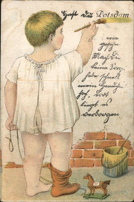 Potsdam Kuenstlerkarte Kind Malt An Die Wand Leporello Potsdam Potsdam Stadtkreis