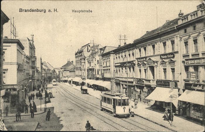 Brandenburg Hauptstrasse mit Strassenbahn Kat. Brandenburg