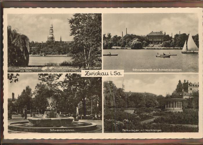 Zwickau Sachsen Schwanenteich Schwanenschloss Parkanlagen Kat. Zwickau