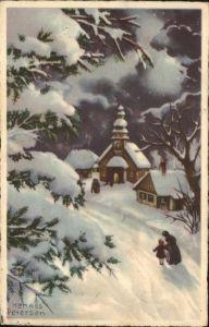 Petersen Hannes Weihnachten Kirche  Kat. Kuenstlerkarte