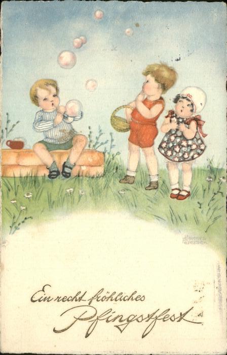 Petersen Hannes Pfingsten Kinder Seifenblasen  Kat. Kuenstlerkarte