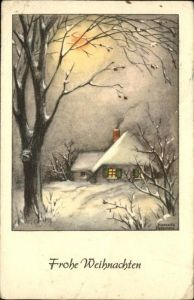 Petersen Hannes Weihnachten Haus Baum Mond Kat. Kuenstlerkarte
