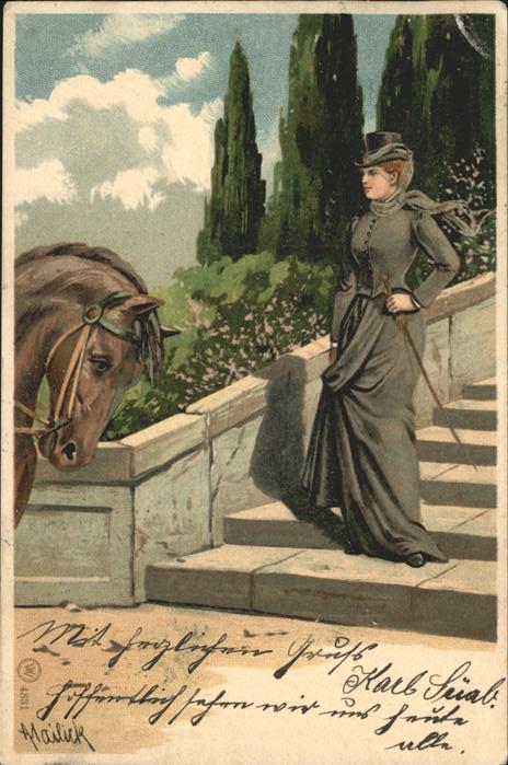 Mailick Nr. 4831 Pferd Frau  Kat. Kuenstlerlitho