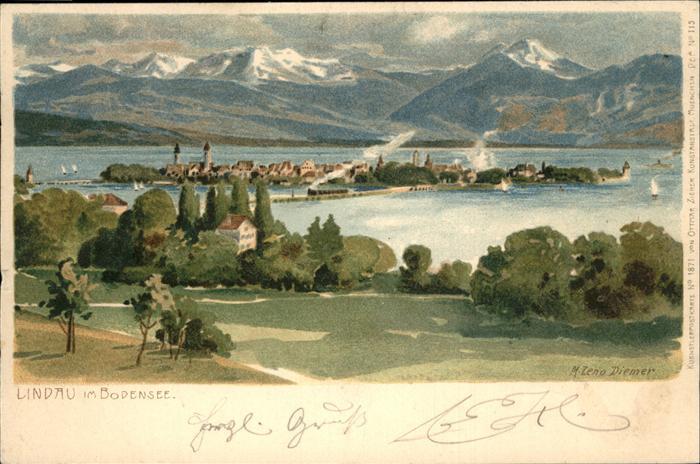 Diemer Zeno Litho Nr. 1871 Lindau im Bodensee  Kat. Kuenstlerkarte