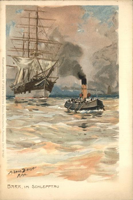 Diemer Zeno Litho Nr. 2188 Bark Segelschiff  Kat. Kuenstlerkarte