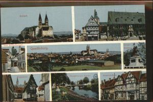 Quedlinburg Panorama Schloss Kriegerdenkmal Klopstockhaus Kat. Quedlinburg