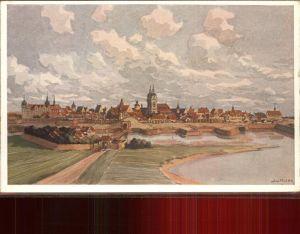 Wittenberg Lutherstadt Panorama Kuenstlerkarte / Wittenberg /Wittenberg LKR