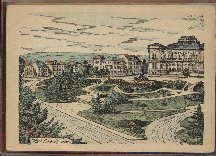 Weimar Thueringen Museumsplatz Museum Kuenstlerkarte Kurt Halboth / Weimar /Weimar Stadtkreis