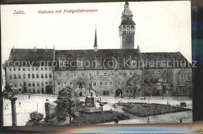 Zeitz Burgenland Rathaus mit Finkgraefebrunnen Kat. Zeitz