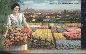 Erfurt Blumenstadt Frau mit Korb Kat. Erfurt