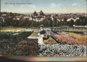 Erfurt Blumenstadt Frau mit Blumenkorb Kat. Erfurt
