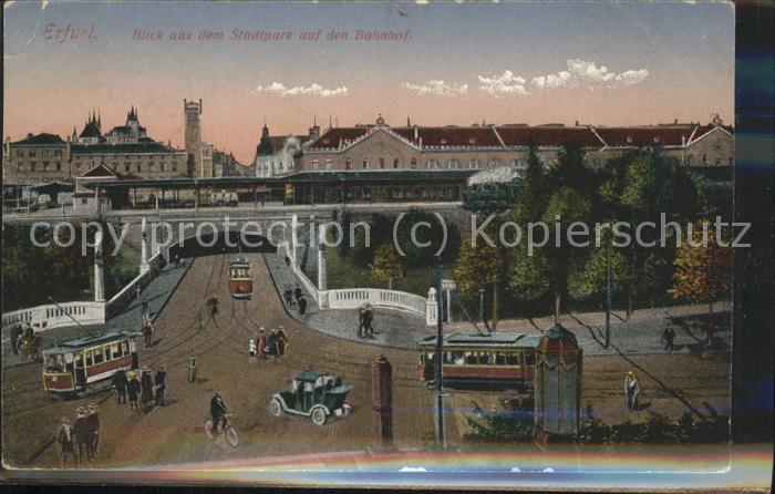 Erfurt Blick auf den Bahnhof Strassenbahnen Oldtimer Kat. Erfurt