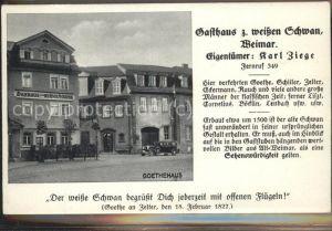 Weimar Thueringen Goethehaus Gasthaus zum weissen Schwan / Weimar /Weimar Stadtkreis