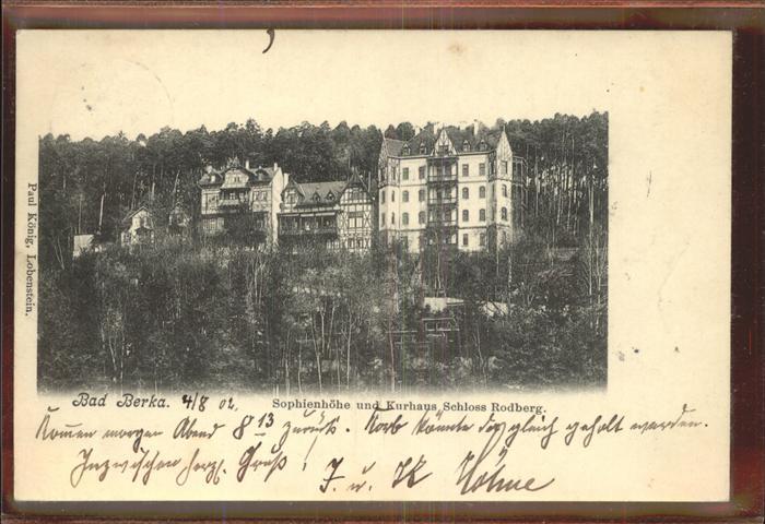 Bad Berka Sophienhoehe Kurhaus Schloss Rodberg Kat. Bad Berka