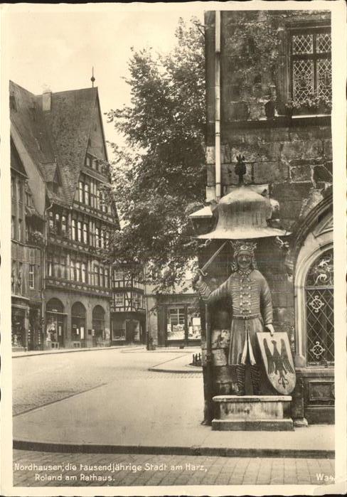Nordhausen Thueringen Harz Roland Rathaus tausendjaehrige Stadt Kat. Nordhausen