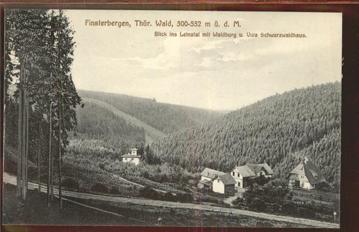 Finsterbergen Blick ins Leinatal mit Waldburg u.Villa Schwarzwaldhaus Kat. Finsterbergen