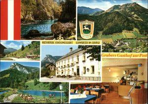 Schwarzau Gebirge Naturpark Erholungsgebiet Grubers Gasthof zur Post Wappen Schwimmbad Kat. Schwarzau im Gebirge