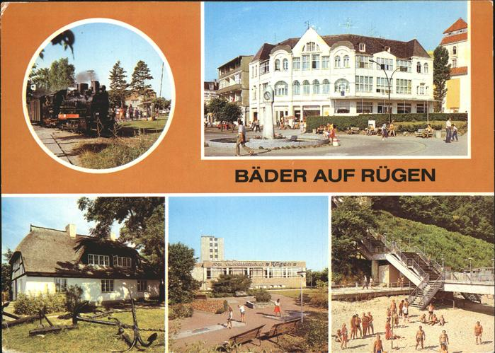 Baabe Ostseebad Ruegen Schmalspurbahn Binz Kaufhaus Promenade FDGB Restaurant Goehren Moenchguter Heimatmuseum Sellin Treppe zum Strand Kat. Baabe