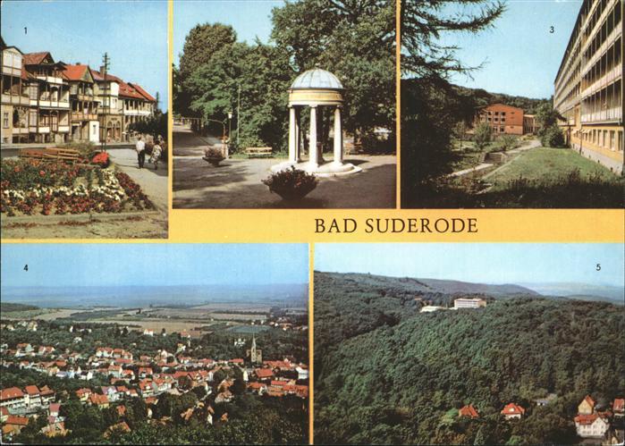 Bad Suderode Rathausplatz Behringer Brunnen Kurpark Sanatorium fuer Staublungenkranke Blick vom Thomas Muentzer Turm Kat. Bad Suderode