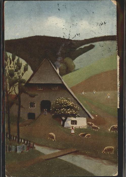 Kuenstlerkarte E. Harbers Nr. 30 Schwarzwaldhaus Schafe  Kat. Kuenstlerkarte