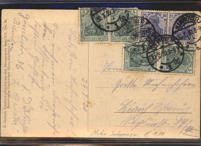Kuenstlerkarte E. Harbers Nr. 30 Schwarzwaldhaus Schafe  Kat. Kuenstlerkarte 1