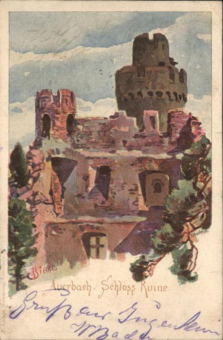 Biese Carl Karl Auerbach Schloss Ruine Kat. Kuenstlerlitho