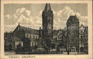 Eisenach Thueringen Karlsplatz Lutherdenkmal Kirche Zeichnung Kat. Eisenach