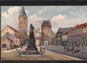 Eisenach Thueringen Karlsplatz Lutherdenkmal Nikolaikirche Pferdekutsche Kat. Eisenach