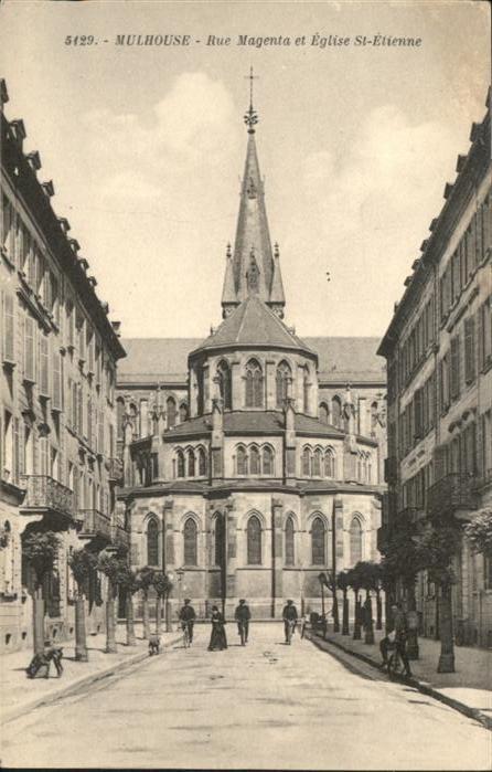 wb13938 Mulhouse Muehlhausen Mulhouse Rue Magenta Eglise St. Etienne * Kategorie. Mulhouse Alte Ansichtskarten
