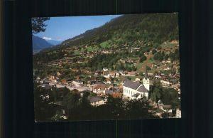 Fiesch Ortsansicht mit Kirche Weisshorn Kat. Fiesch