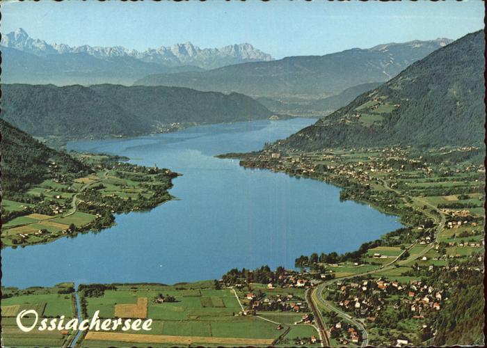 Ossiachersee Panorama mit Steindorf Stiegl Bodensdorf und Ossiach Fliegeraufnahme Kat. Ossiach