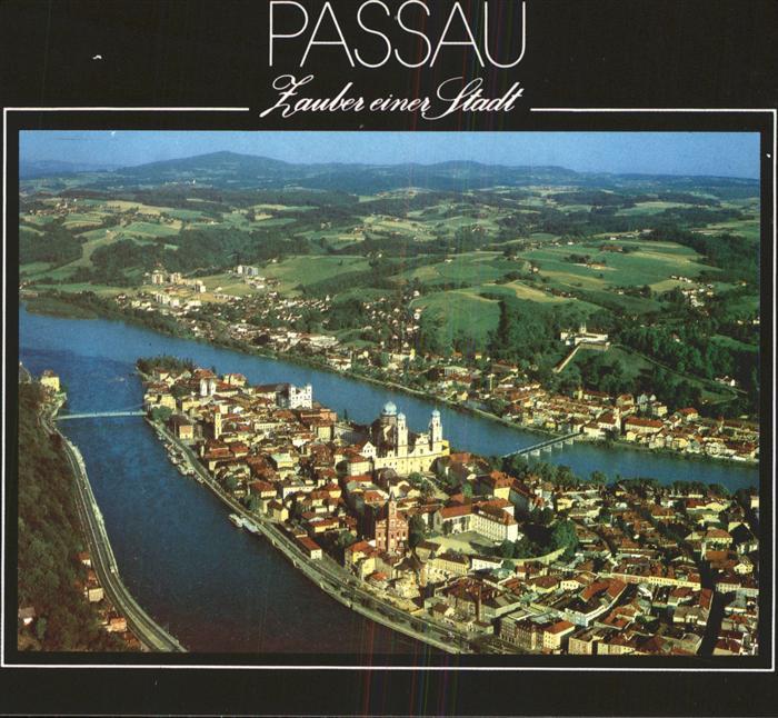 Passau Fliegeraufnahme Altstadt zwischen Donau und Inn Kat. Passau