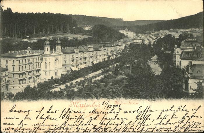 Marienbad Tschechien Kaiserstrasse mit Parkanlage Boehmen Kat. Marianske Lazne