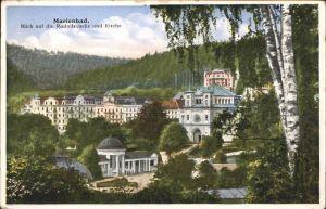 Marienbad Tschechien Blick auf Rudolfsquelle Katholische Kirche Park Boehmen Kat. Marianske Lazne