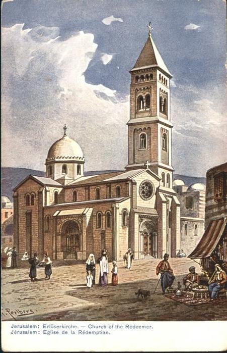 Jerusalem Yerushalayim Church Redeemer Hund Kuenstler F Perlberg / Israel /
