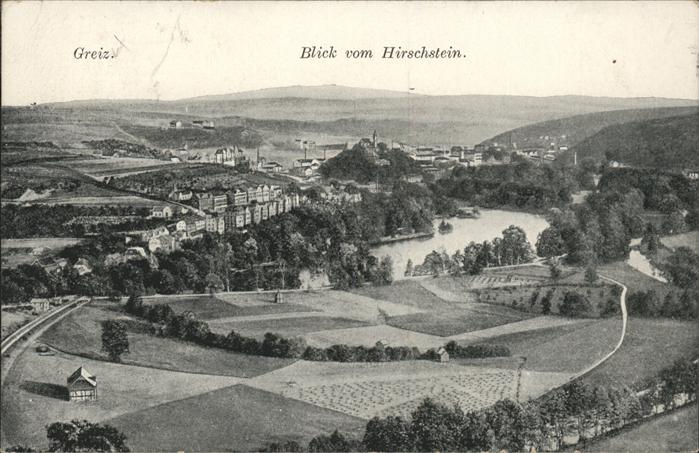 Greiz Thueringen Blick vom Hirschstein Elster Schloss Kat. Greiz